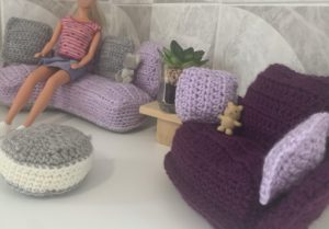 Doll sofa crochet pattern with chair and pouffe