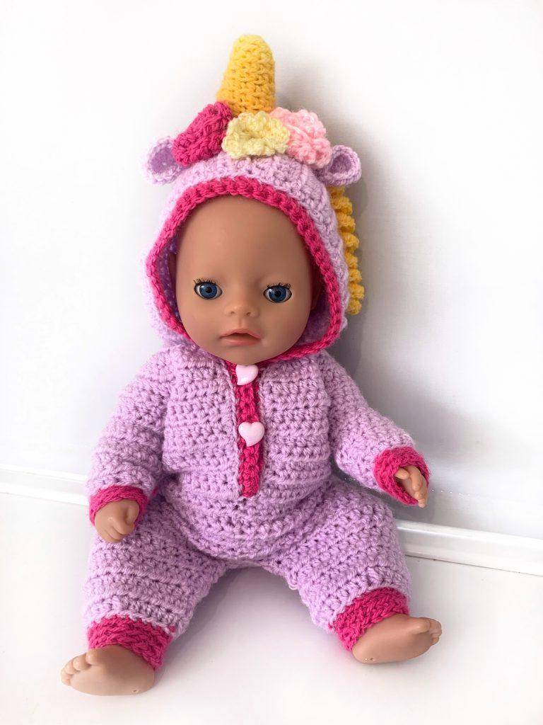 Unicorn baby dolls onesie crochet pattern